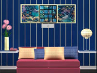 Blue Hotel Room
