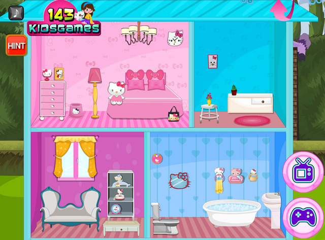 Hello Kitty Wedding Doll House Decor Girls Games